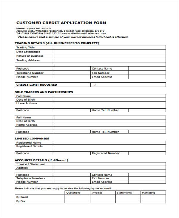 15+ Credit Application Form Templates - credit application form