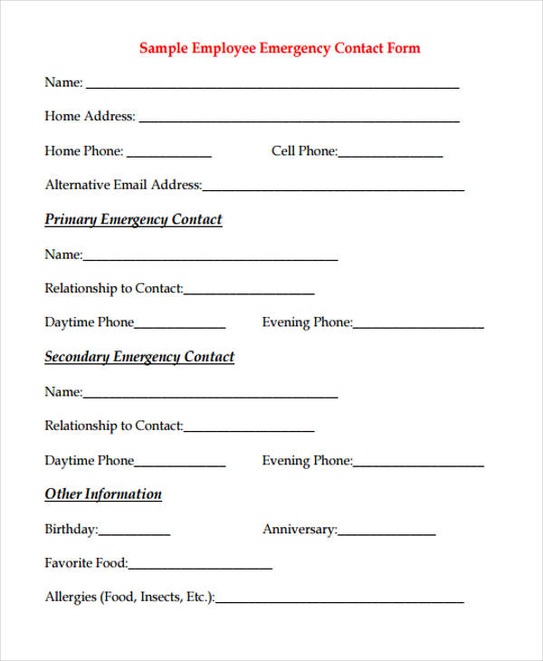 32+ Emergency Contact Form Example - emergency contact form