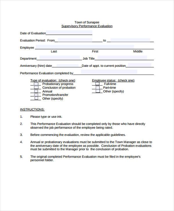 Employee Evaluation Form - sample employee evaluation form