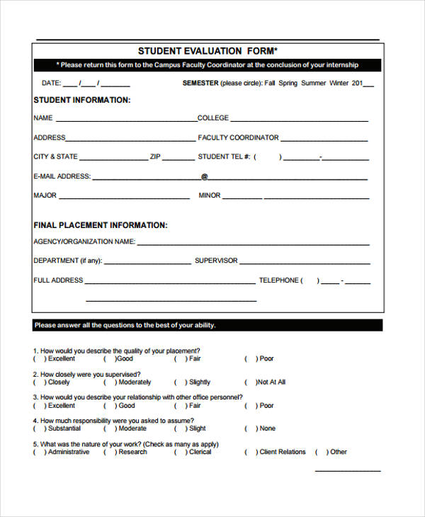... Student Evaluation Form In PDF   Sample Student Evaluation Form ...