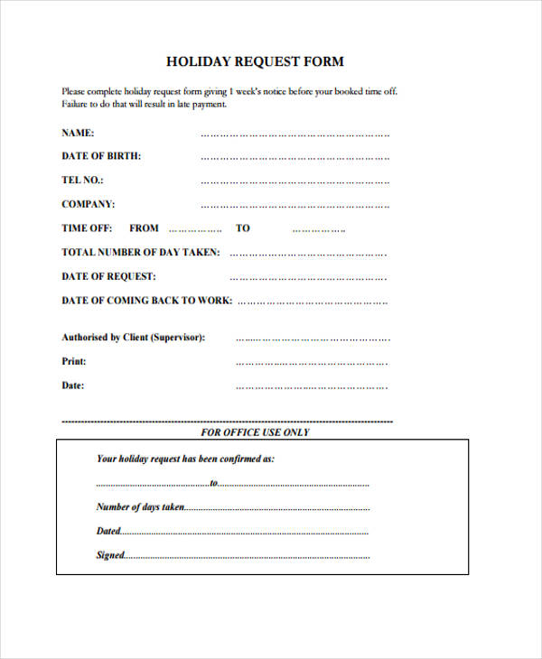 Sample Request Form - holiday request form