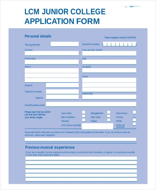 application form format pdf - Funfpandroid