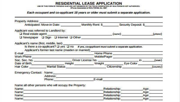 Sample Lease Application Form