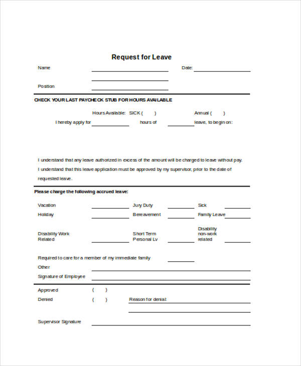 leave request sample – Sample Leave Request Form