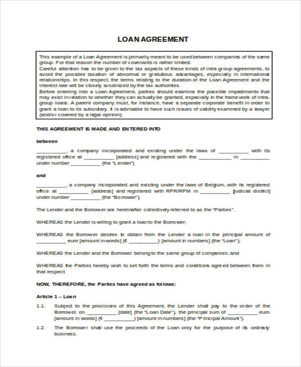 Loan Agreement Form Template - agreement form doc