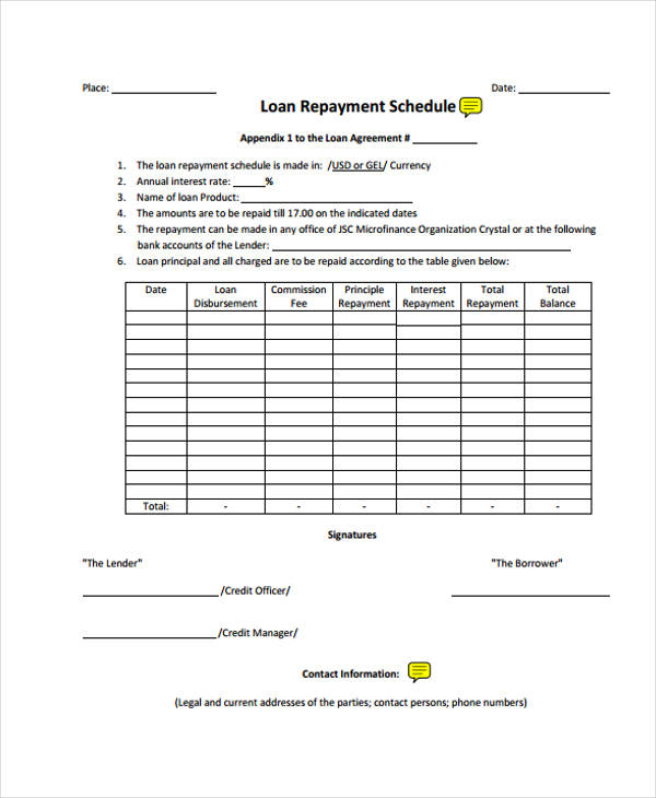 Loan Agreement Form Template - loan repayment agreement form