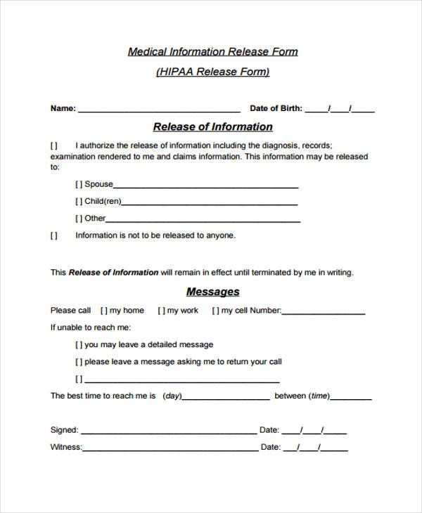 31 Free Medical Release Forms - medical information release form