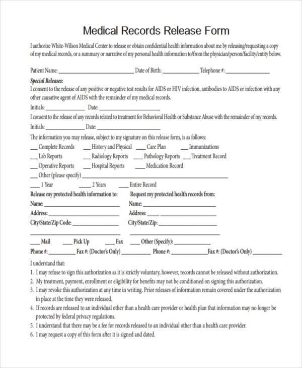 Free Medical Form - sample medical records release form