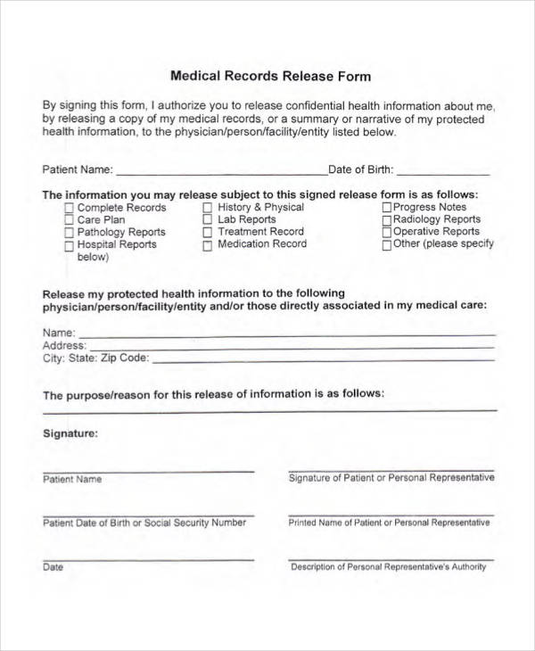 33 Medical Release Forms in PDF - sample medical records release form