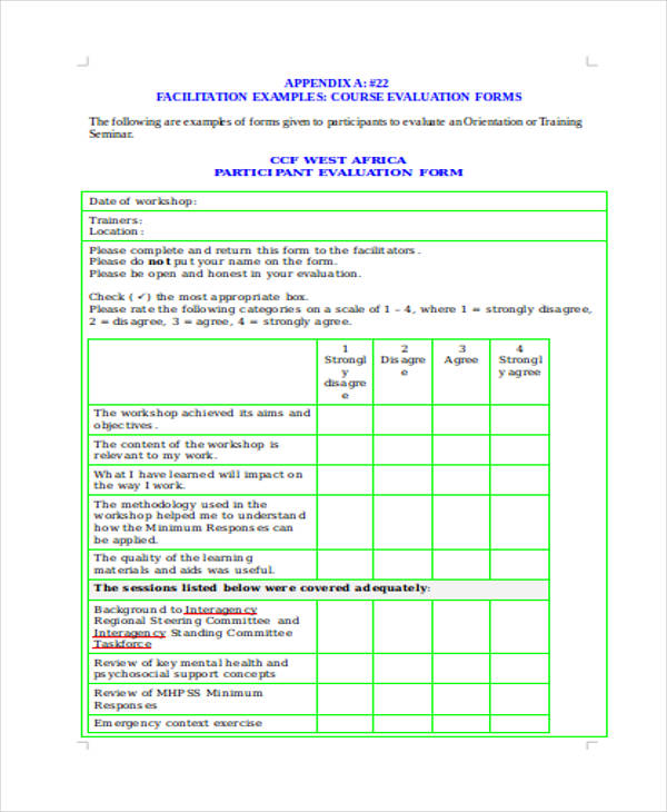 Training Course Evaluation Form  BesikEightyCo
