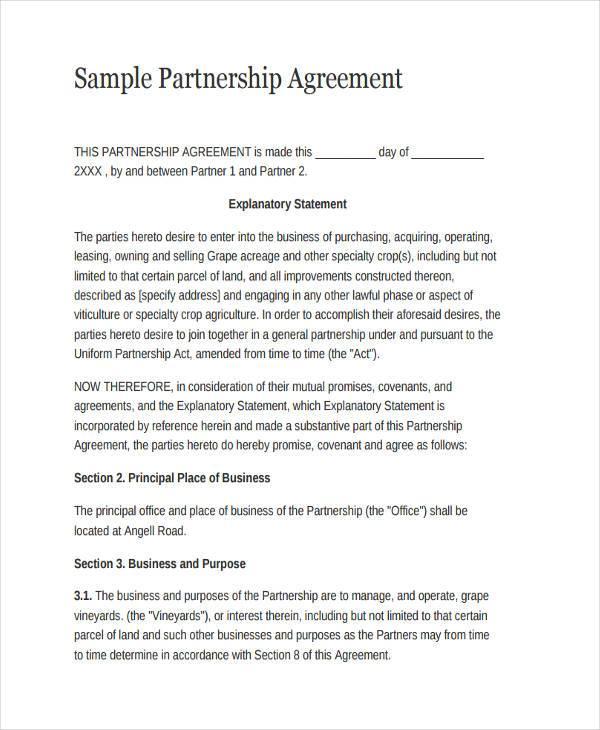 General partnership agreement Sample template MaRS - mandegarinfo