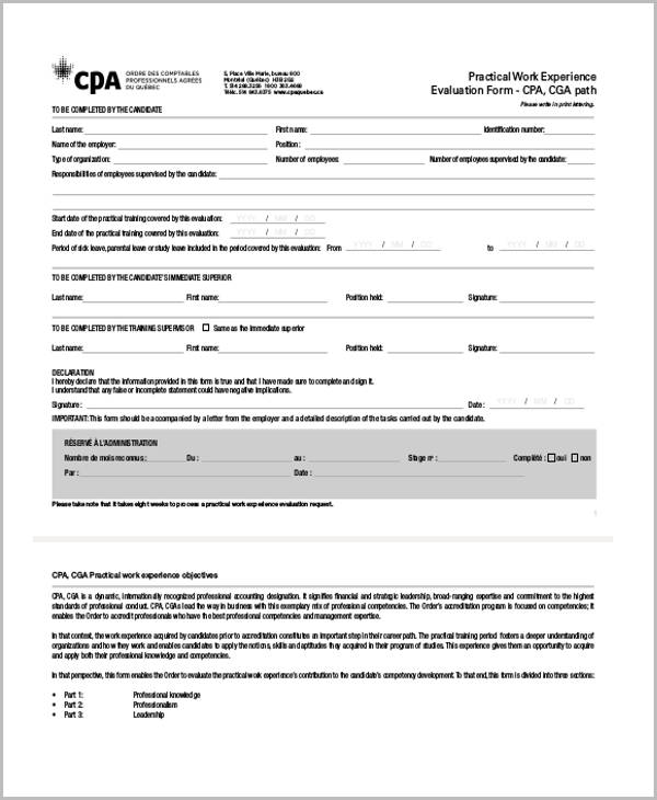 trainer evaluation form template