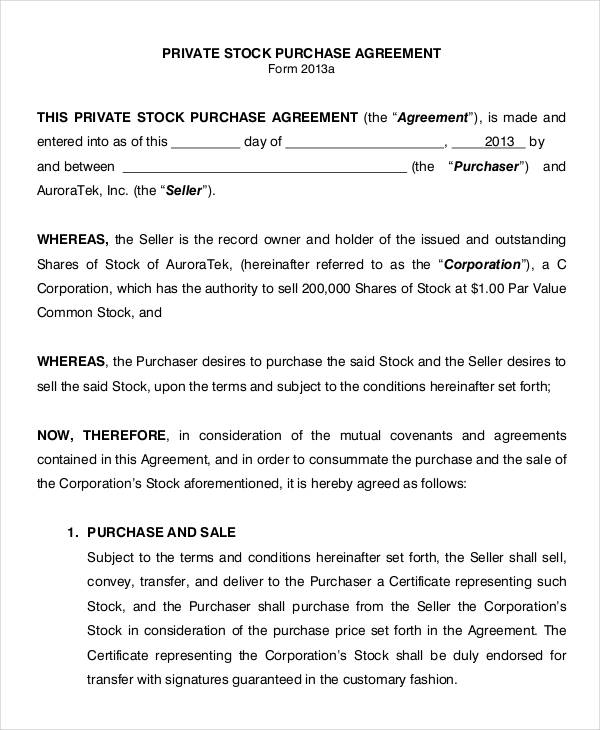 11+ Stock Purchase Agreement Form Samples - Free Sample, Example - sample stock purchase agreement example