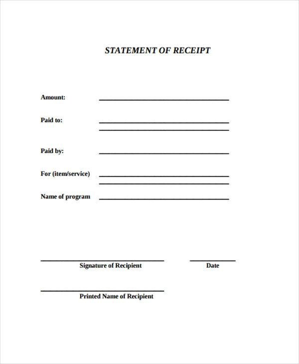 Receipt Form in PDF - payment receipt sample