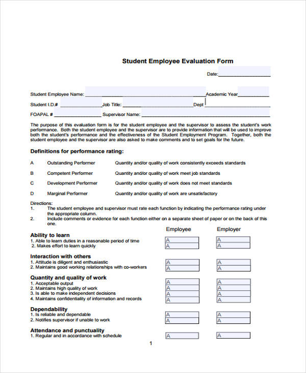 Employee Evaluation Form - sample employee evaluation forms