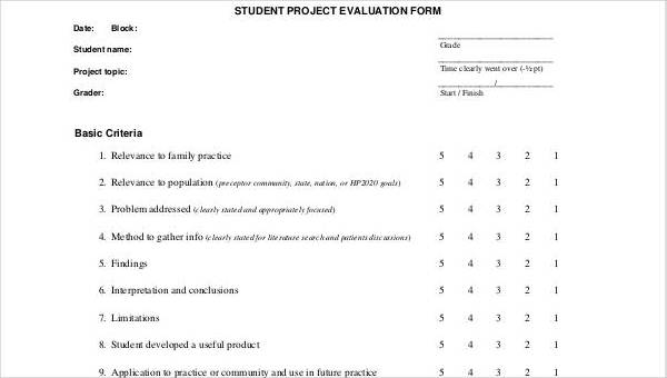 Sample Student Evaluation Form