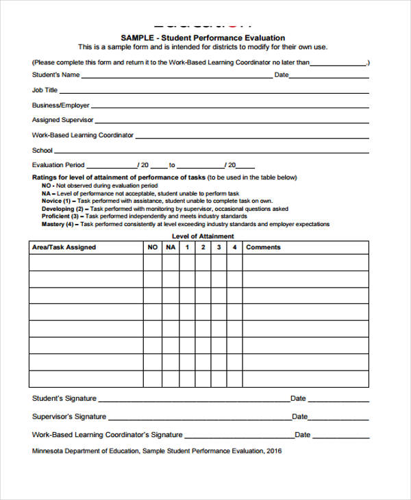Student Evaluation Form in PDF - sample student evaluation forms
