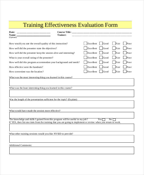 Training Evaluation Form in PDF