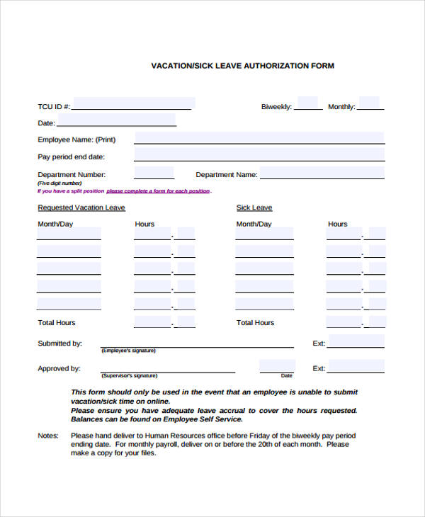 Leave Authorization Form Simple Leave Form Simple Leave Form - example of leave form