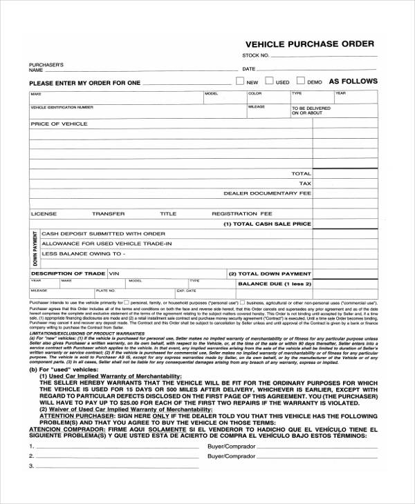 7+ Vehicle Purchase Agreement Form Samples - Free Sample, Example - sample vehicle purchase agreement
