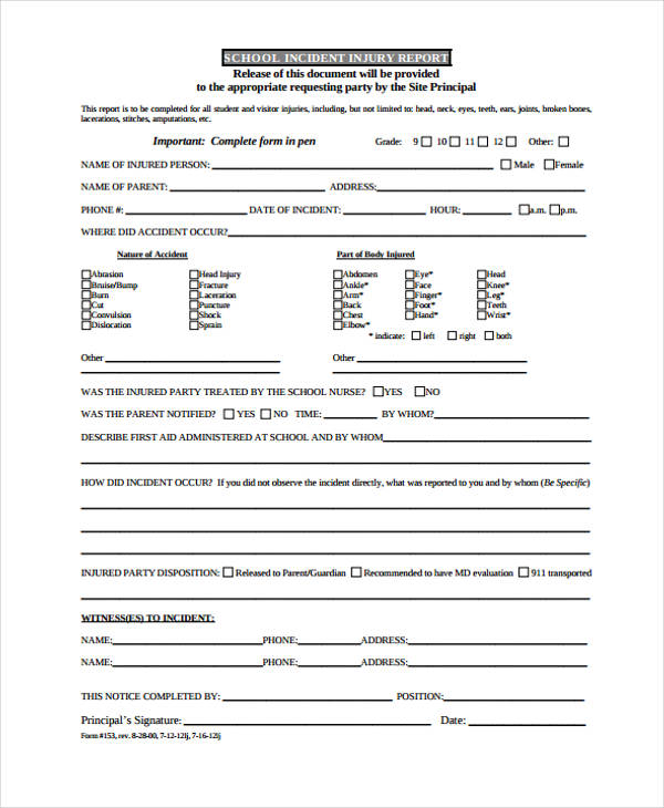 Incident Report Form Example - injury incident report template