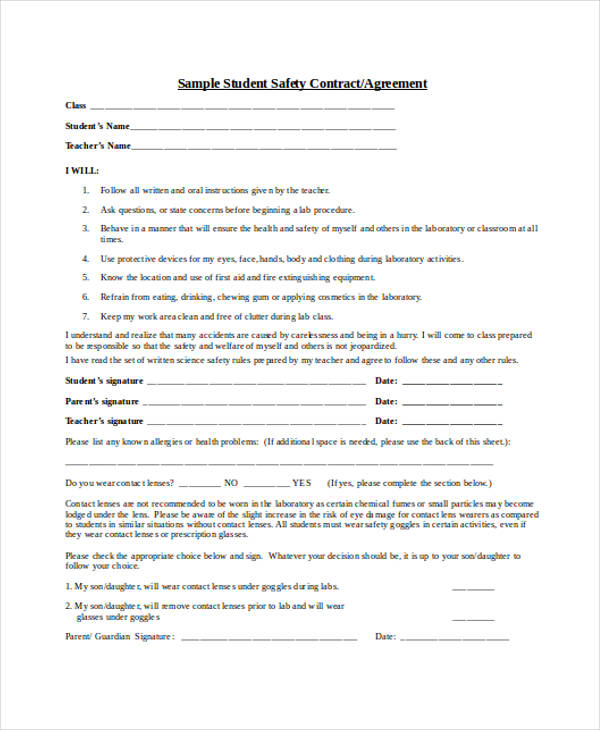 Safety Contract Templates Click To View Sample Legal Documents The