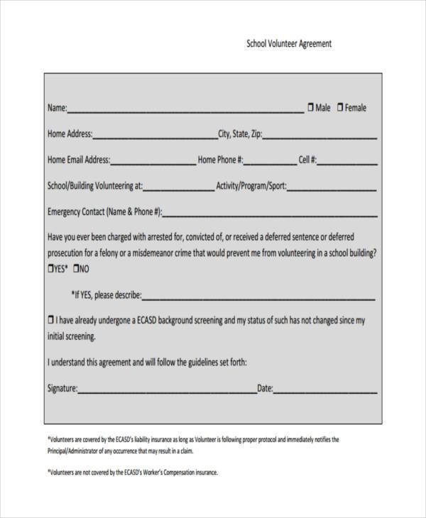 Volunteer Agreement Image collections - Agreement Letter Format - school volunteer form template