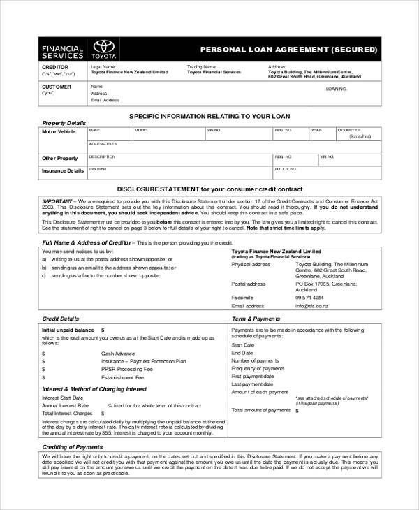 Free Loan Agreement Form - free personal loan agreement form