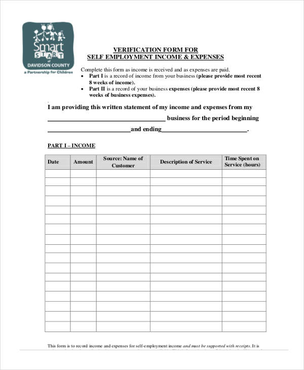 Verification Form Templates - income verification form