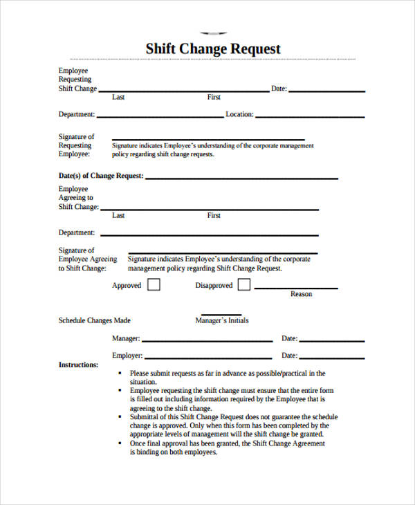 Free Change Forms - employee change form