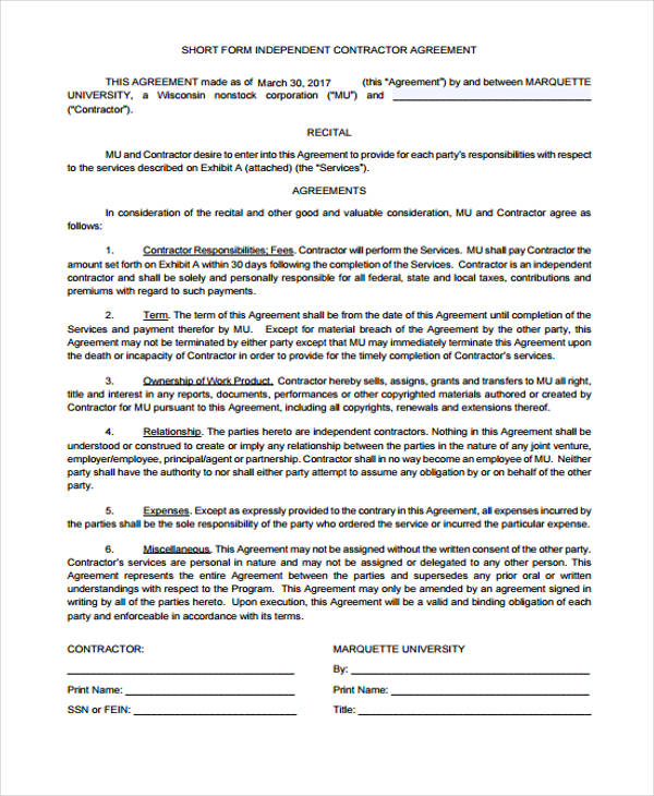 Freelance Contract Agreement Free Freelance Consultant Contract - sample independent contractor agreement