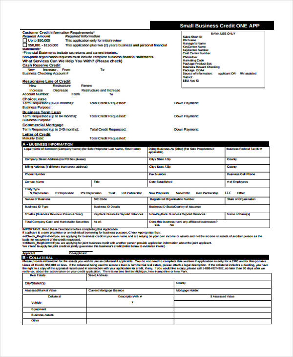 sample credit application form 8 examples in word pdf