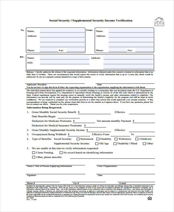 33 Free Verification Forms - income verification form