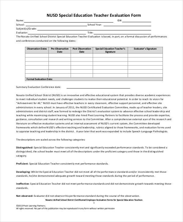 20 Sample Teacher Evaluation Forms - teaching evaluation form