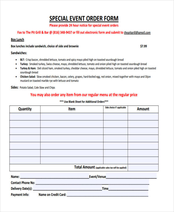 Sample Event Forms - 38+ Free Documents in Word, PDF - event order form