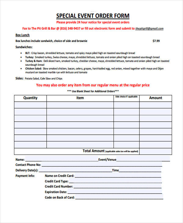 Free Event Forms - 32+ Free Documents in Word, PDF - event order form