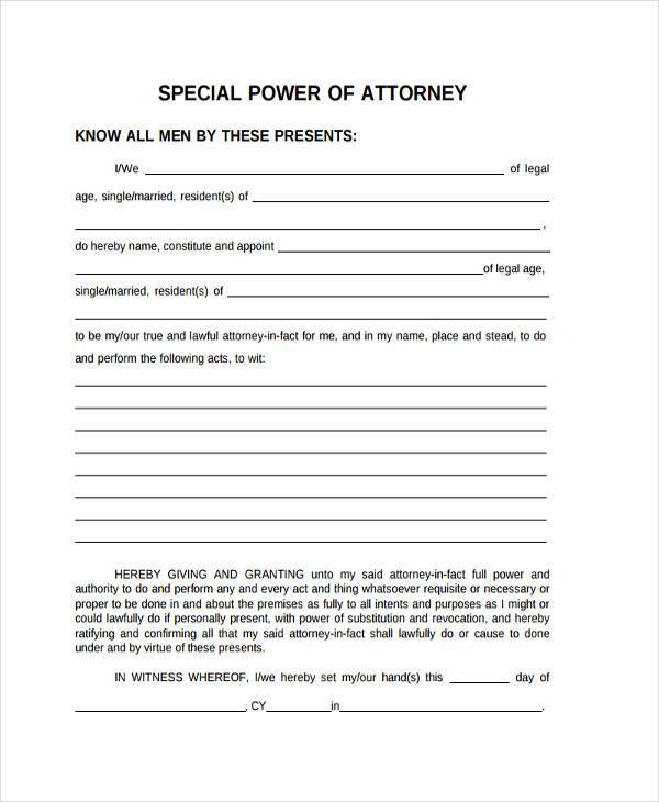 Sample Special Power Of Attorney Form free florida power of - sample form