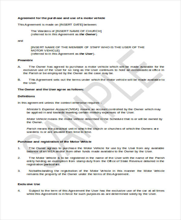 7+ Vehicle Purchase Agreement Form Samples - Free Sample, Example - auto purchase agreement form