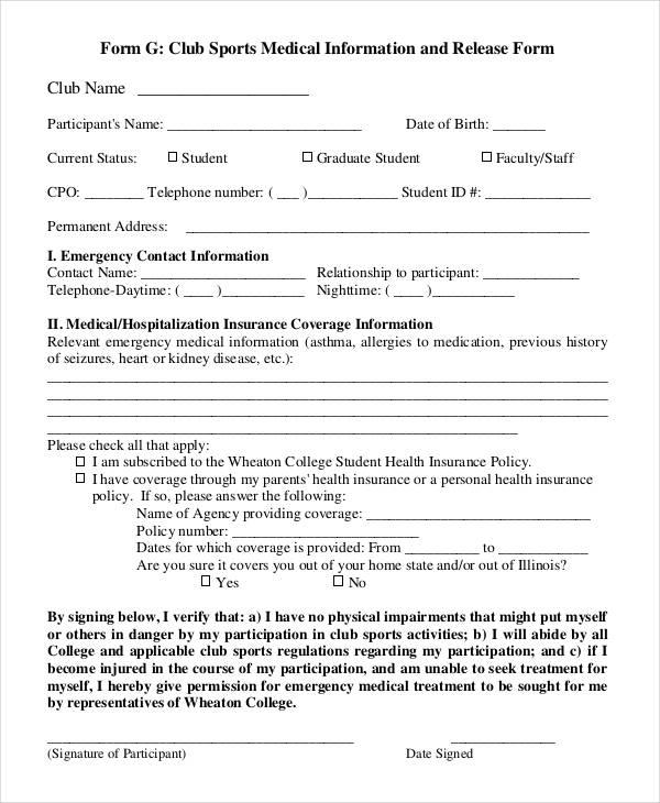 25+ Medical Release Forms - medical information release form