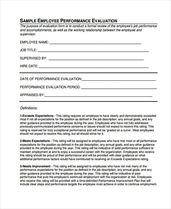 job performance evaluation - Intoanysearch - employee performance evaluation form