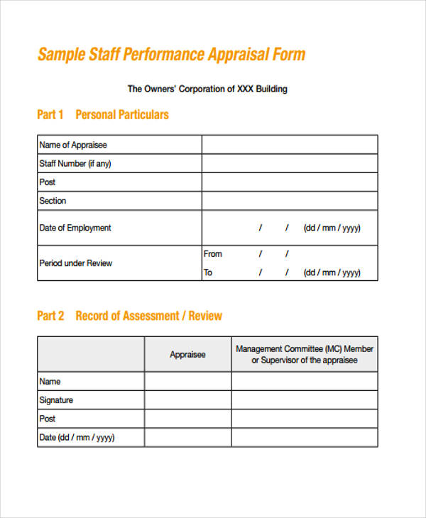 Staff Appraisal Form Example