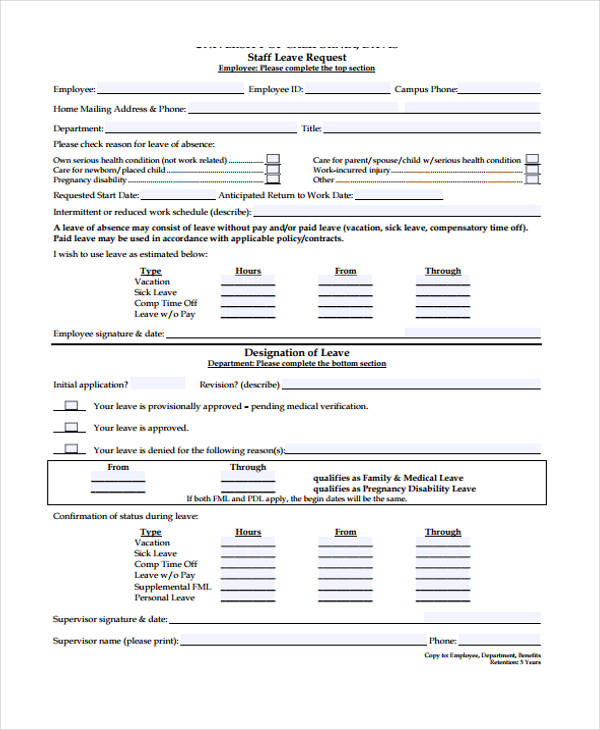 Request Form Template - Leave Form Templates