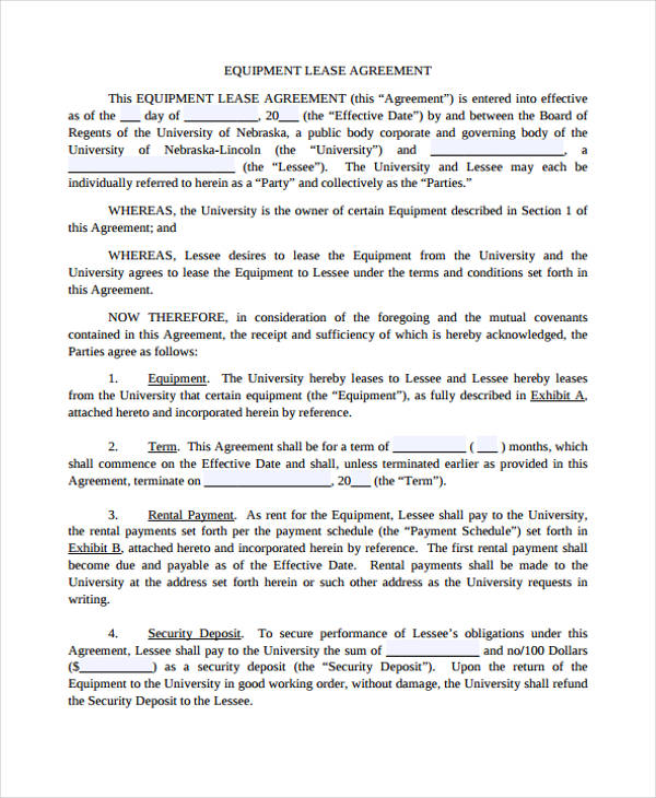 40 Sample Lease Agreement Forms - equipment lease agreement template