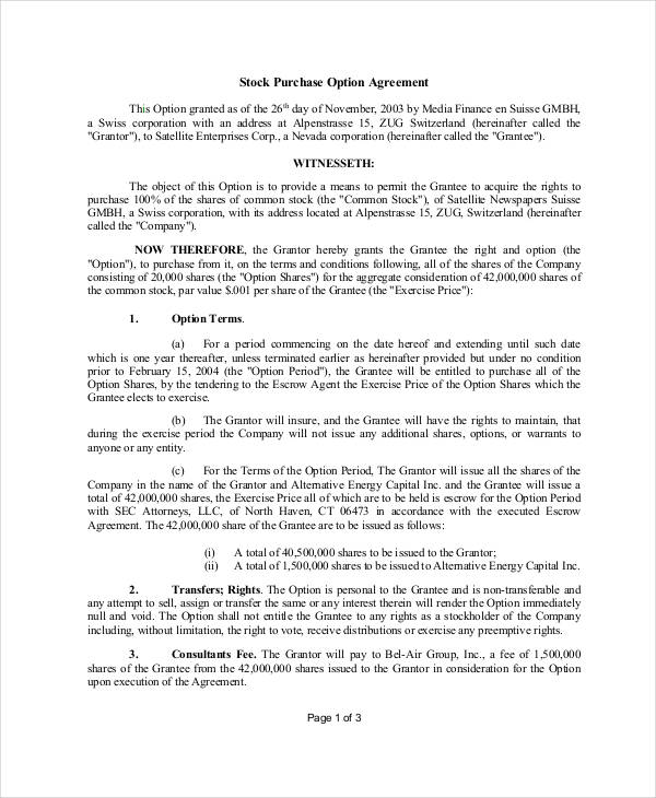 22+ Free Purchase Agreement Form - Stock Purchase Agreement