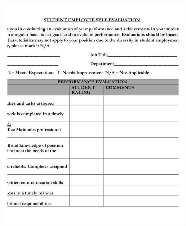 Self Evaluation Form Nurse Self Evaluation Sample Self Evaluation - performance self evaluation form