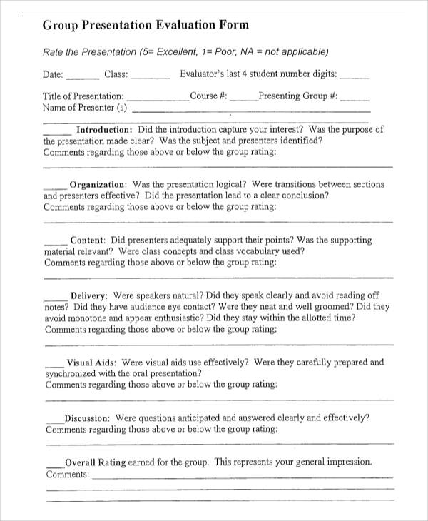 Class Evaluation Template  Free Download For Pdf