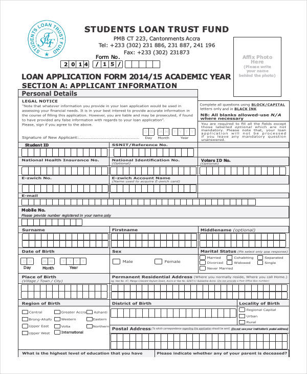 31 Student Application Form Examples - students loan application form