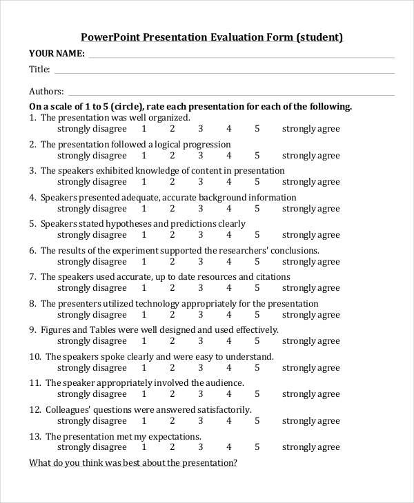 Presentation Evaluation Seminar Presentation Evaluation Form 7+ - sample student evaluation forms