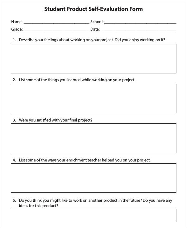 Sample Student Evaluation Form - product evaluation form