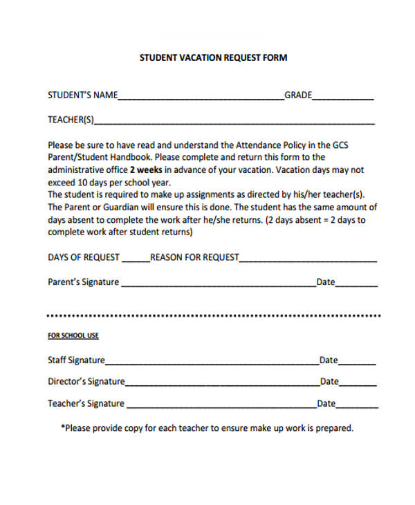 Request Forms in PDF - student request form